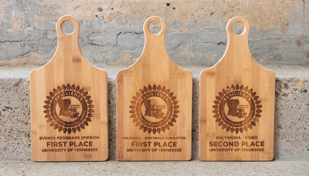 A series of three awards set against an exterior step